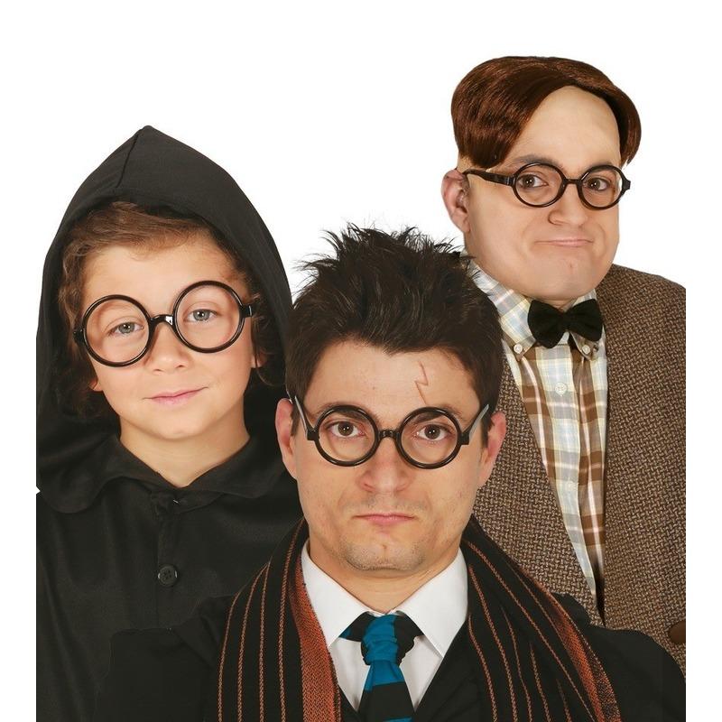 Ronde zwarte nerd verkleed bril zonder glazen