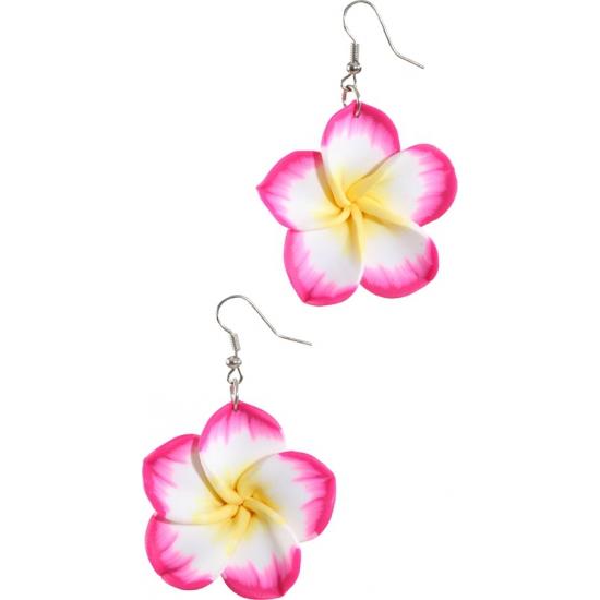 Roze Hawaii bloem oorbellen