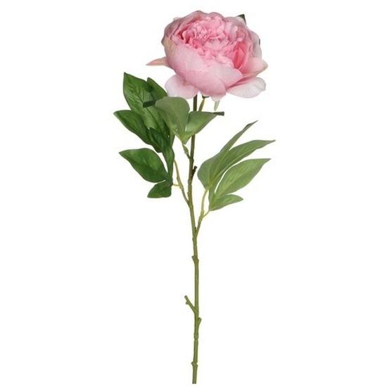 Roze pioenroos-rozen kunstbloemen 76 cm