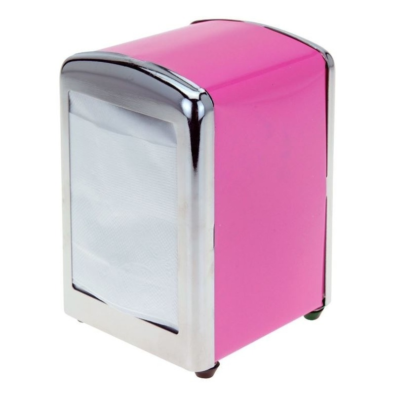 Roze servethouder- servetten dispenser 14 cm