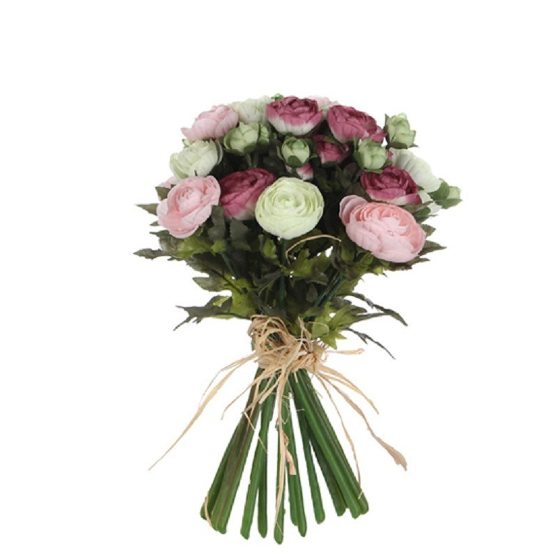Roze-wit Ranunculus-ranonkel kunstbloemen boeket 35 cm