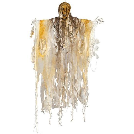 Skelet-heks hangdecoratie pop wit 140 cm met licht Halloween ver
