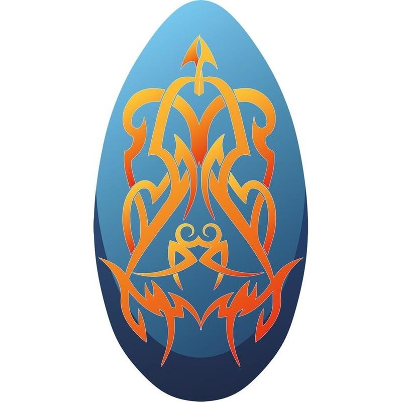 Skimboard Tribal blauw-oranje 100cm