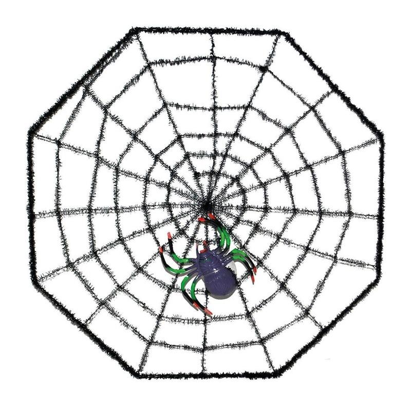 Spinnenweb 38 x 38 cm halloween versiering met spin