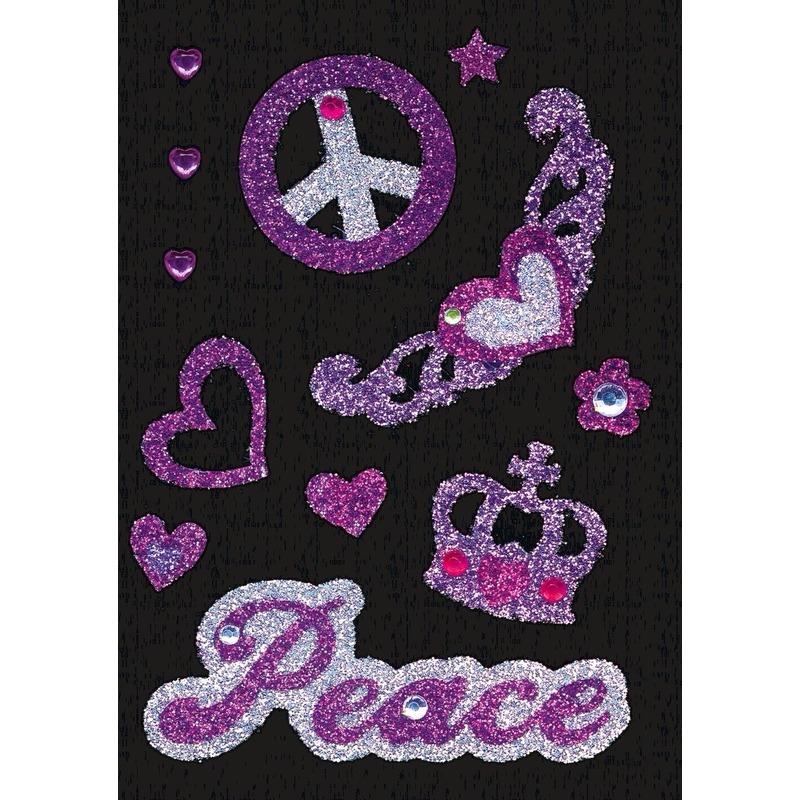 Stickers peace met strass steentjes