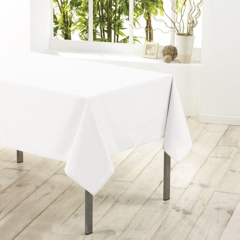 Tafelkleed-tafellaken wit 140 x 250 cm textiel-stof