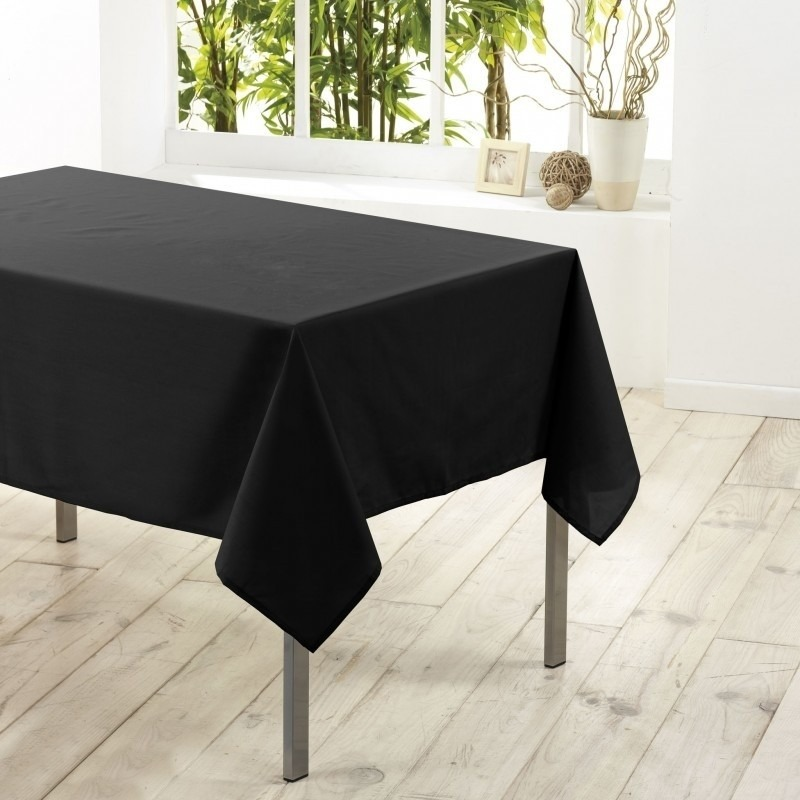 Tafelkleed-tafellaken zwart 140 x 250 cm textiel-stof