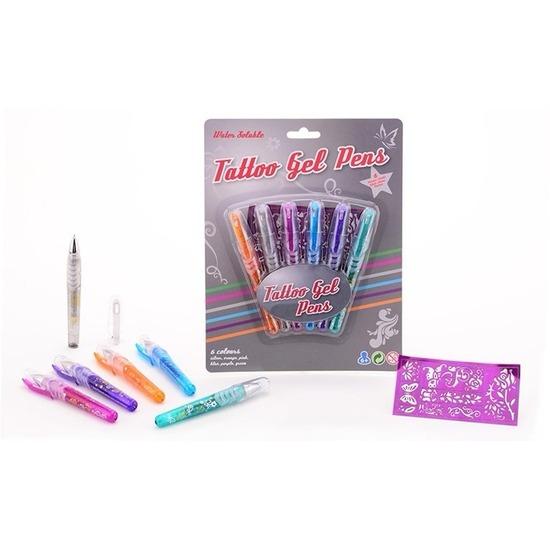 Tattoo glittergel pennen met sjablonen