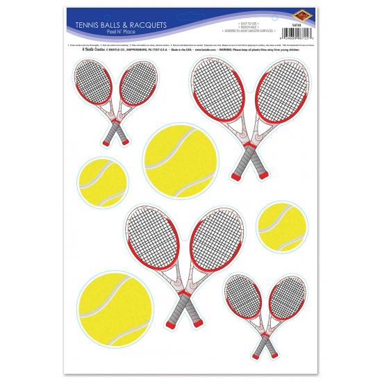 Tennisbaan stickers tennisbal en rackets