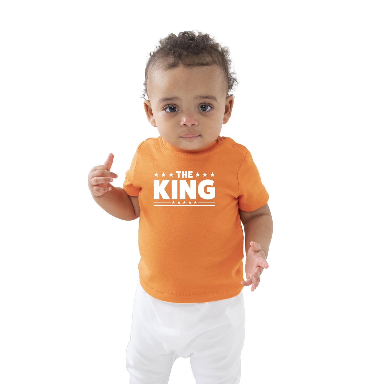 The king met sterren cadeau t-shirt oranje voor baby-peuter