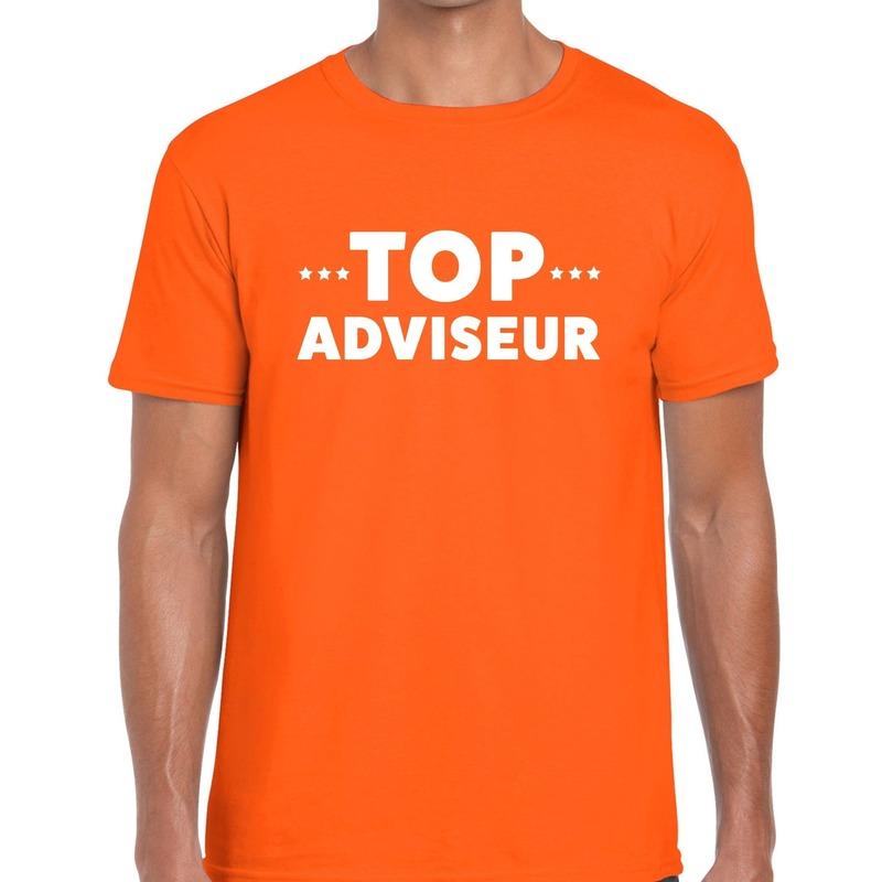 Top adviseur beurs-evenementen t-shirt oranje heren