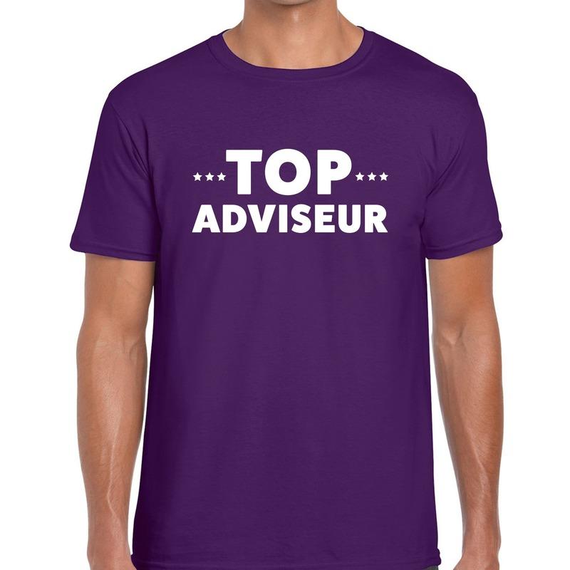 Top adviseur beurs-evenementen t-shirt paars heren