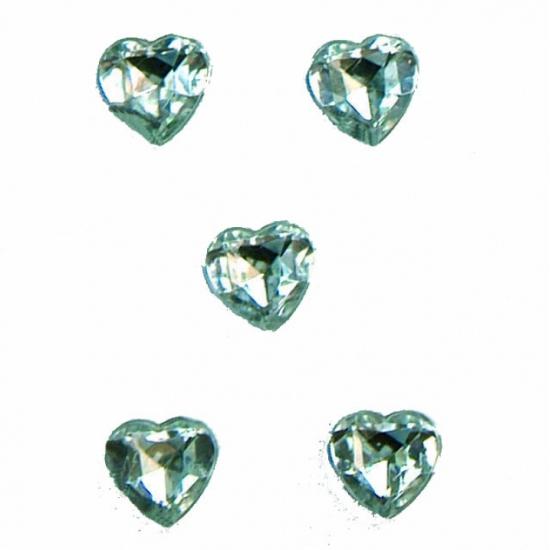 Transparante decoratie hartjes diamanten 20 stuks van 1 cm