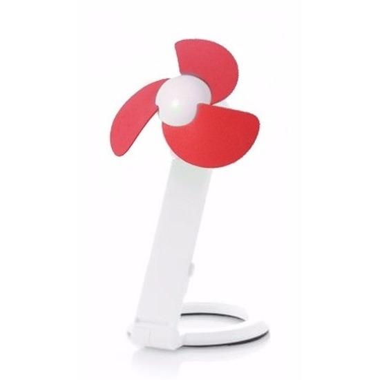 USB bureau ventilator wit-rood 22 cm