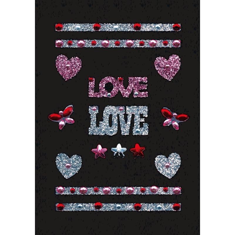 Valentijn Stickers love met strass steentjes