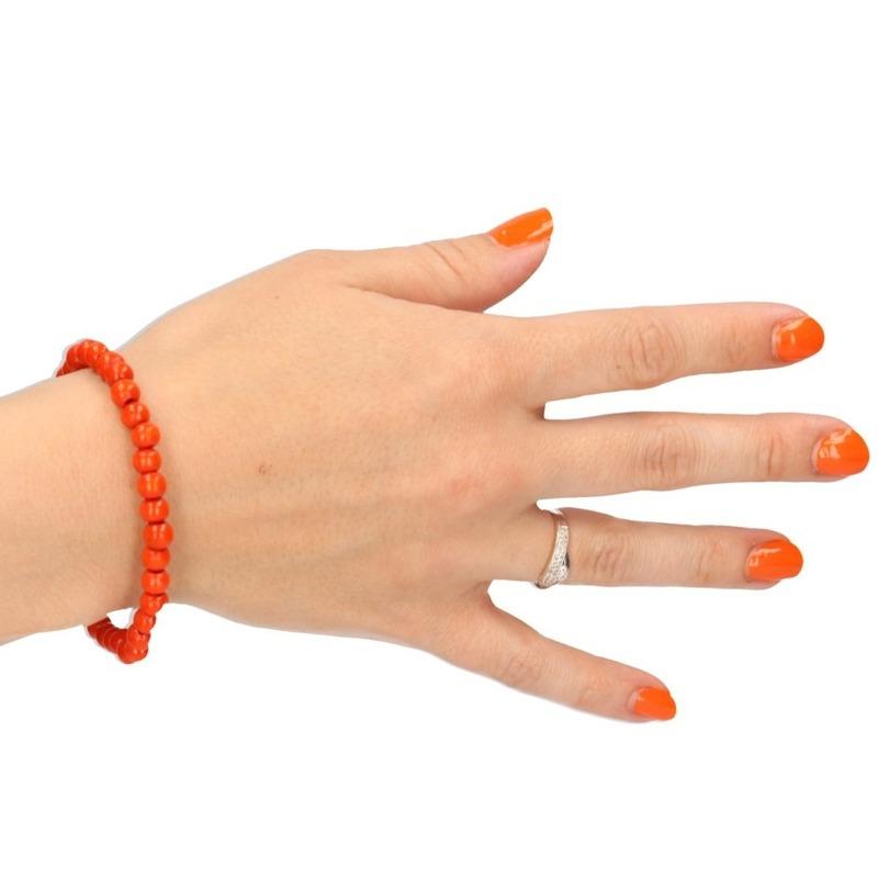 Verkleedaccessoire kralen armband oranje
