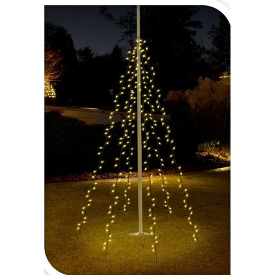 Vlaggenmast kerstverlichting 120 lampjes voor buiten