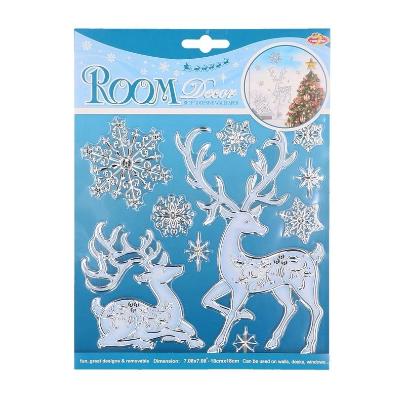 Winterse raamdecoratie hert en sneeuwvlok