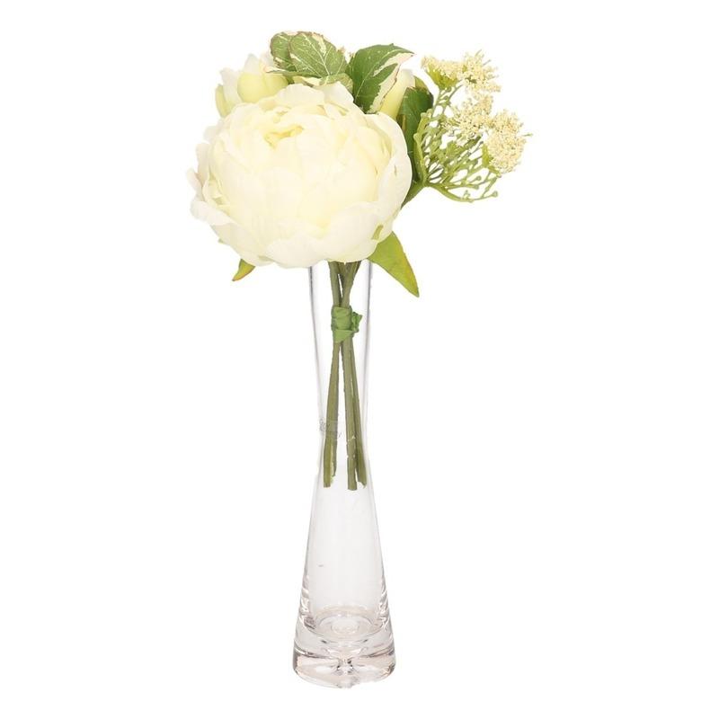 Wit kunstbloemen boeket met vaas 20 cm pioenroos-dille