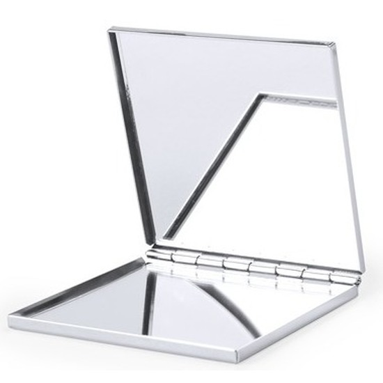 Zakspiegel-make-up spiegel zilver vierkant 6 cm