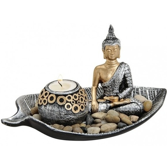Zilver-goud boeddha beeldje en waxine-theelicht houder 25 cm