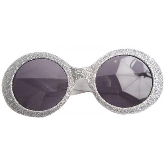 Zilveren disco bril met glitters
