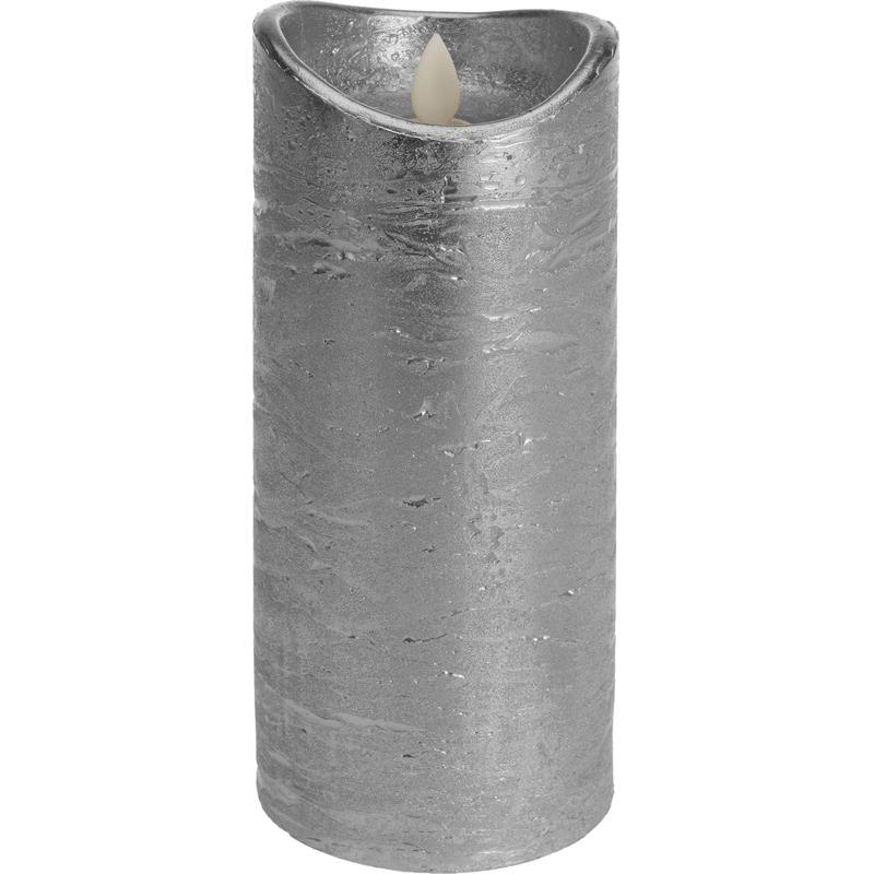 Zilveren led kaars flikkerende vlam 20 cm