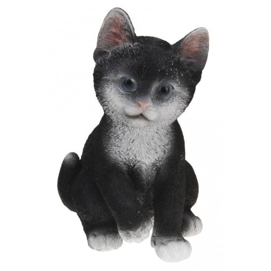 Zittende katten beeldje zwart 19 cm