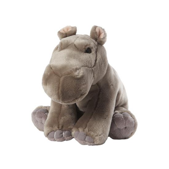 Zittende nijlpaard knuffel met kraaloogjes 22 cm