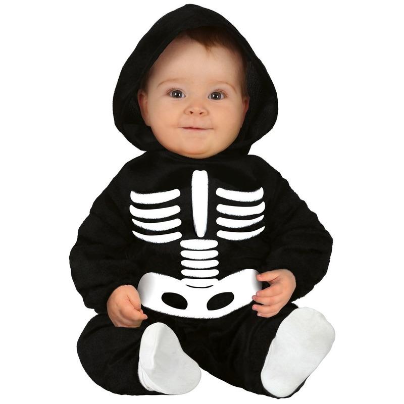 Zwart-wit skelet verkleedpak voor baby-peuter