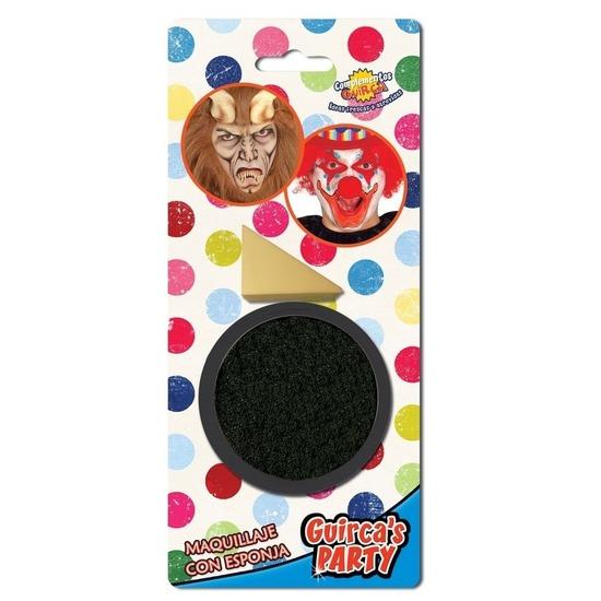Zwarte horror verkleed schmink 9 gram met sponsje