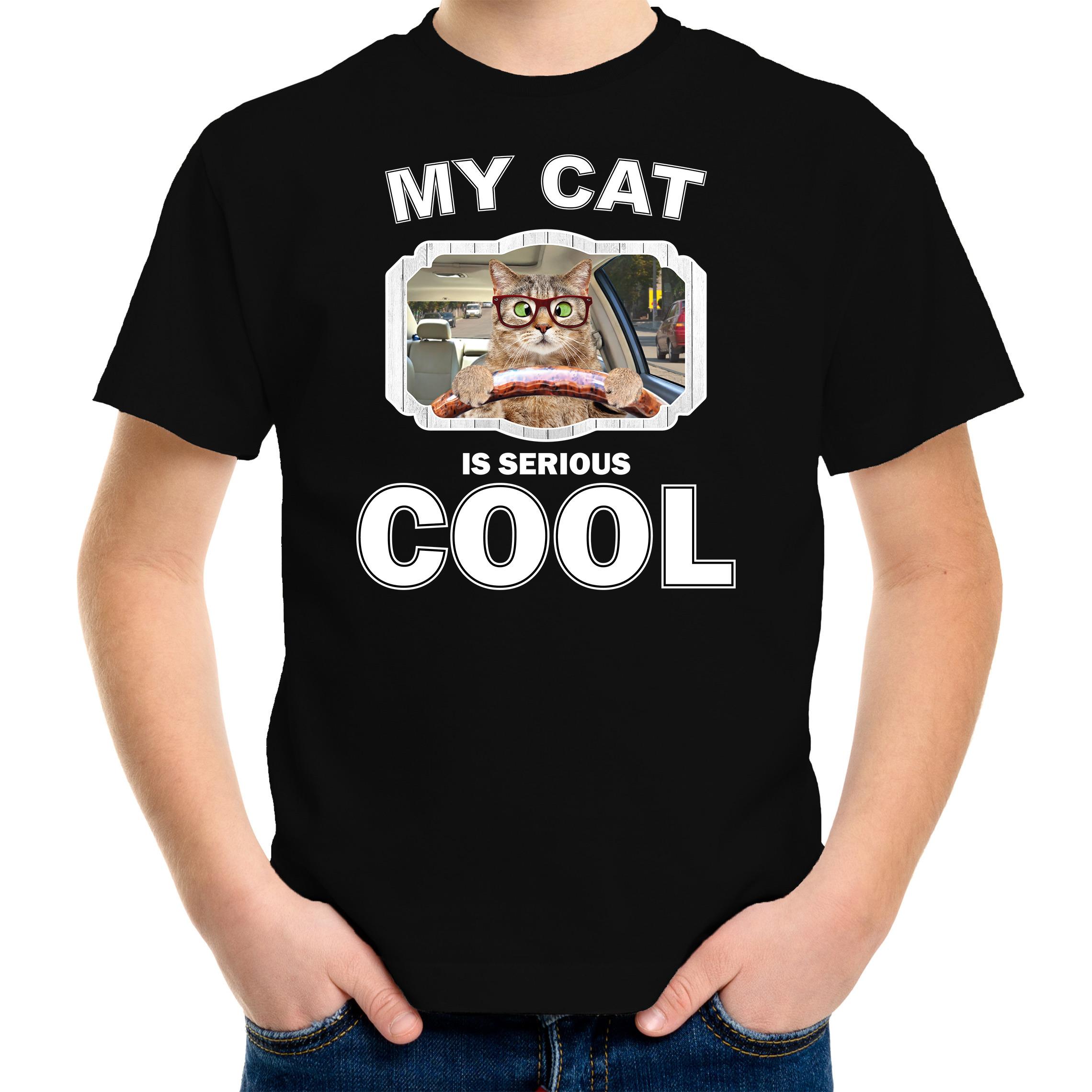 Auto rijdende kat katten-poezen t-shirt my cat is serious cool zwart voor kinderen