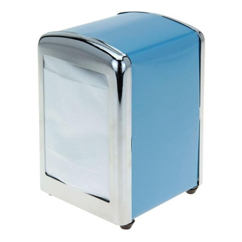 Blauwe servethouder- servetten dispenser 14 cm