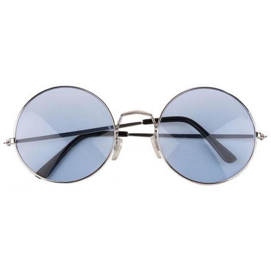 Blauwe XL hippie bril met grote glazen