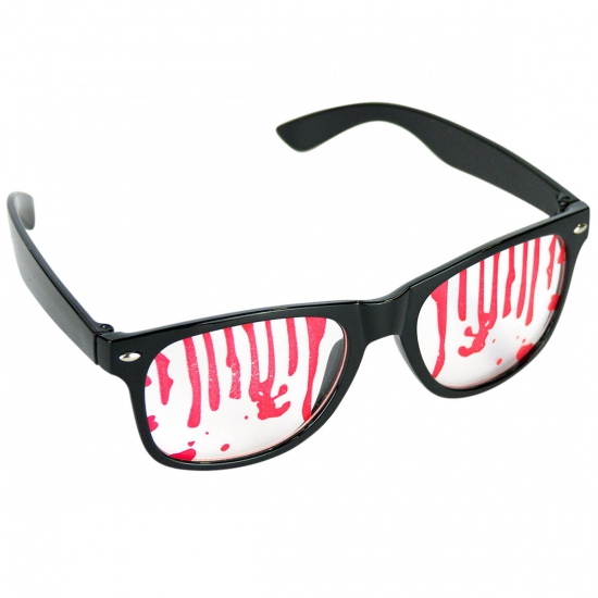 Feestbril halloween met bloederige glazen