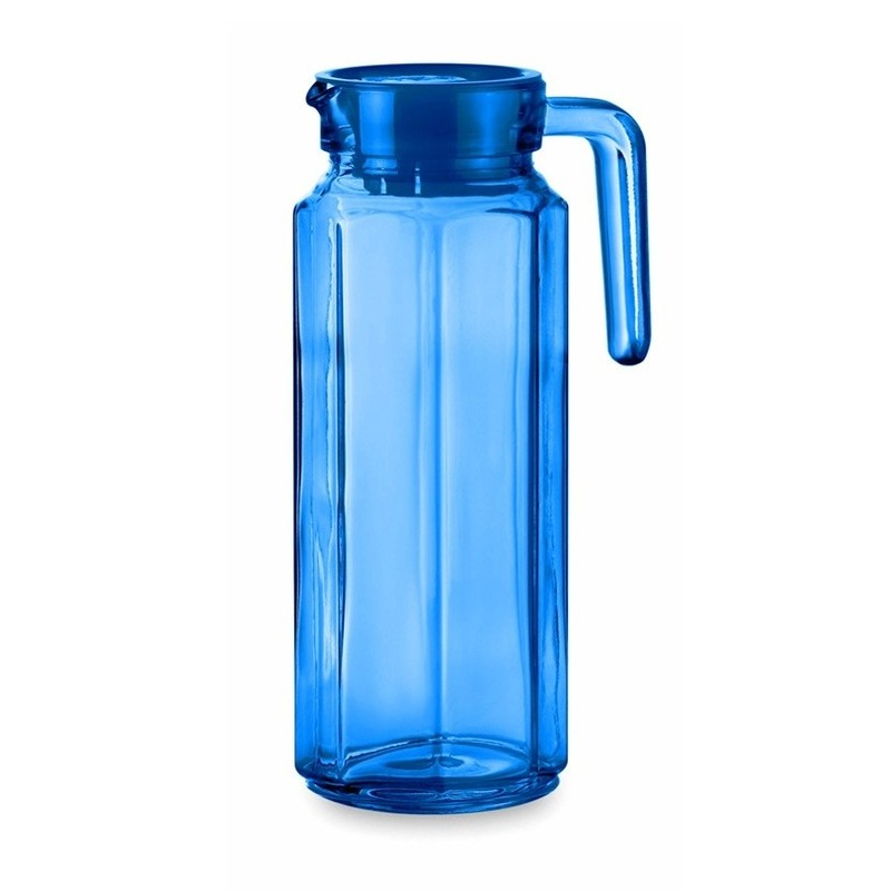 Glazen koelkast schenkkan blauw met dop 1 L