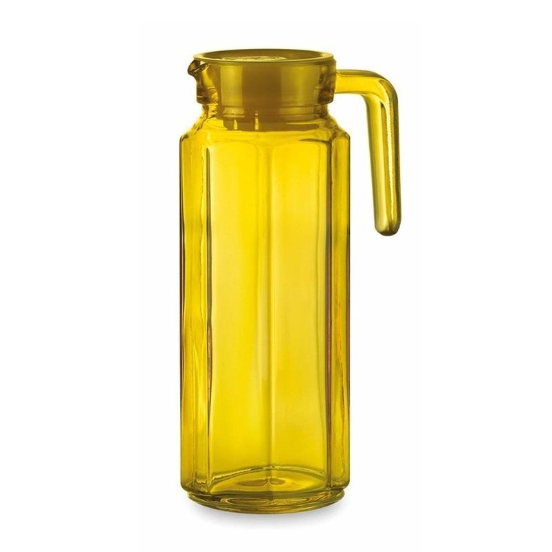 Glazen koelkast schenkkan geel met dop 1 L