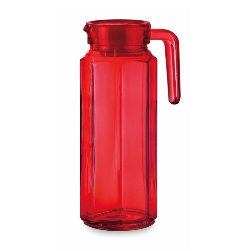 Glazen koelkast schenkkan rood met dop 1 L