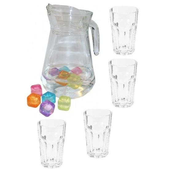 Glazen schenkkan met 4 drink water glazen