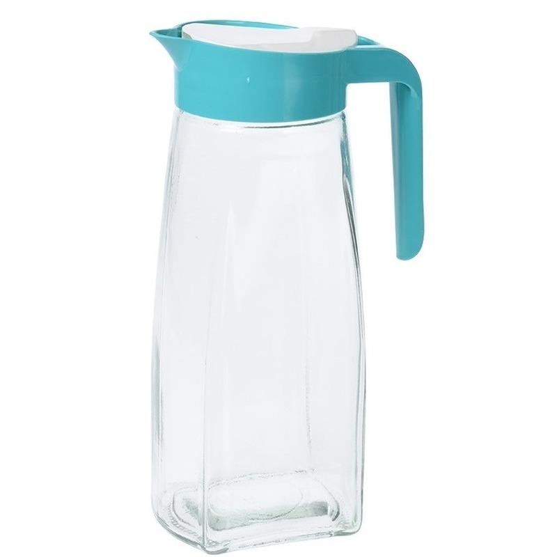 Glazen schenkkan met groen handvat 1,5 liter