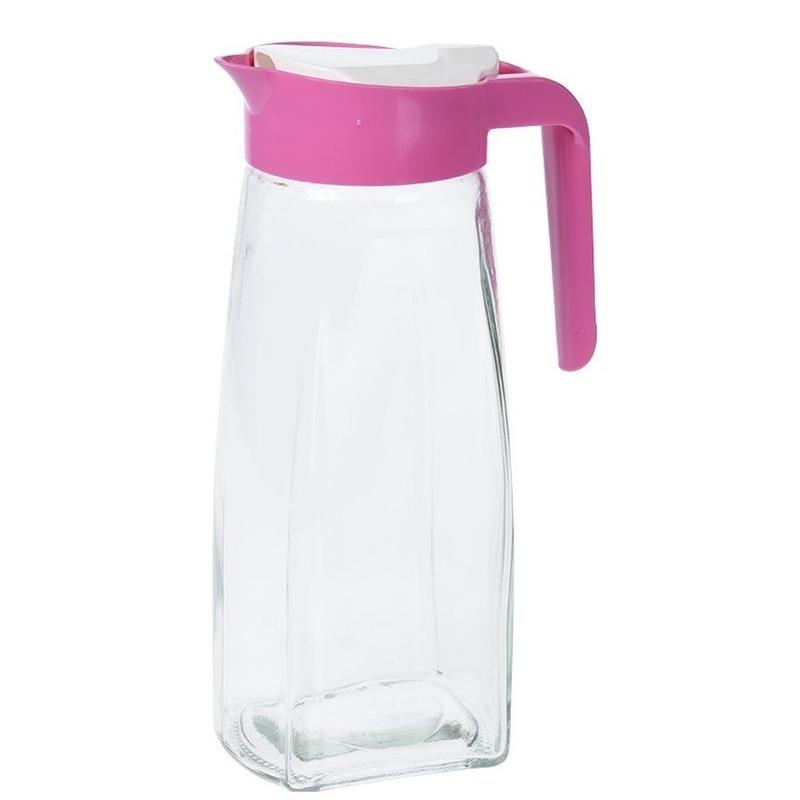 Glazen schenkkan met roze handvat 1,5 liter