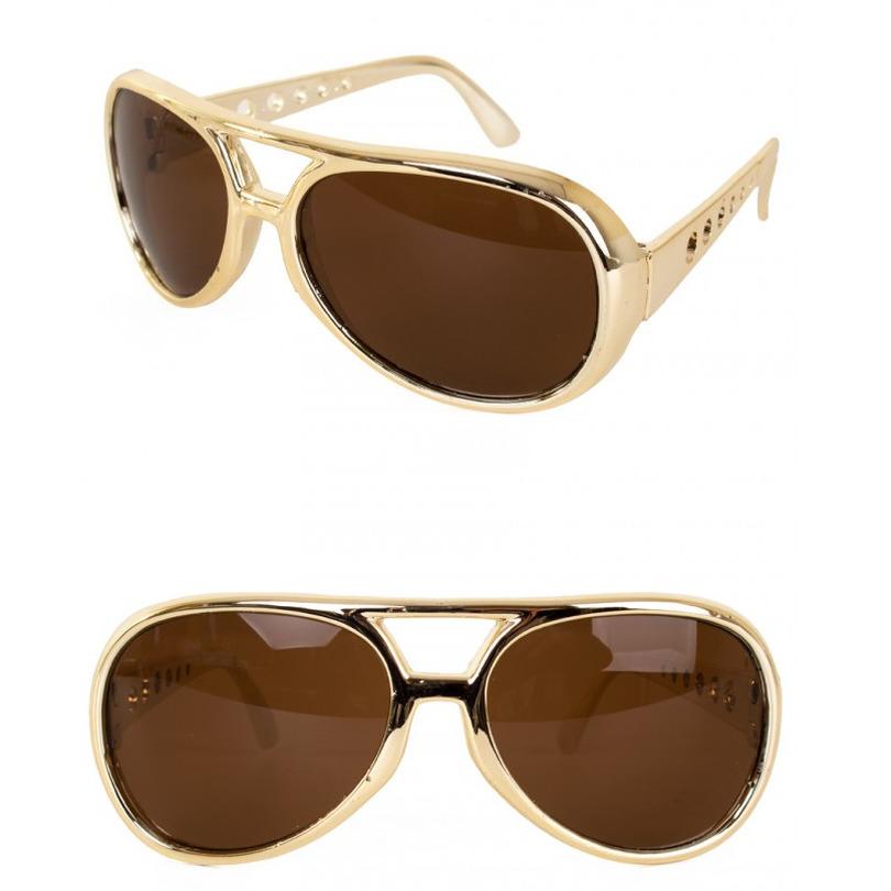 Gouden Elvis verkleed bril