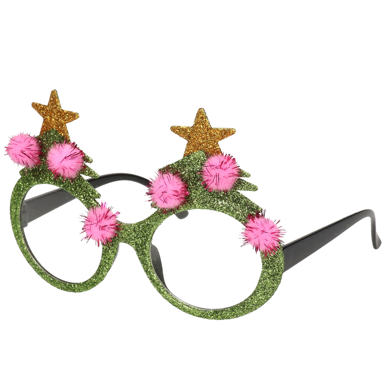 Kerstaccessoires brillen-feestbrillen groen met sterren