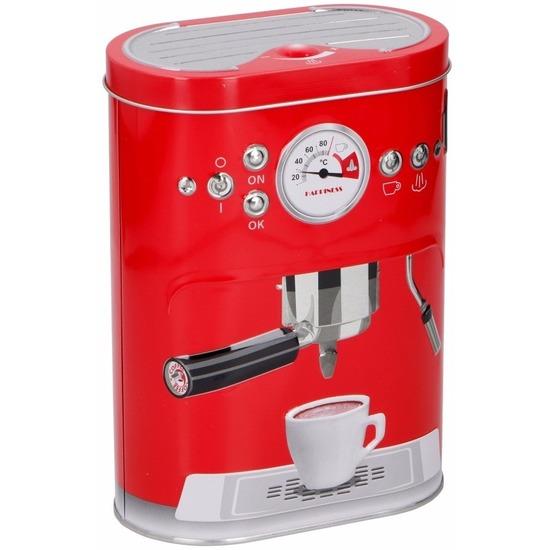 Koffie bewaarblikken rood 17 cm