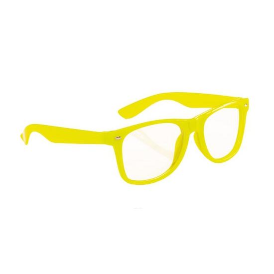 Neon verkleed bril fel geel