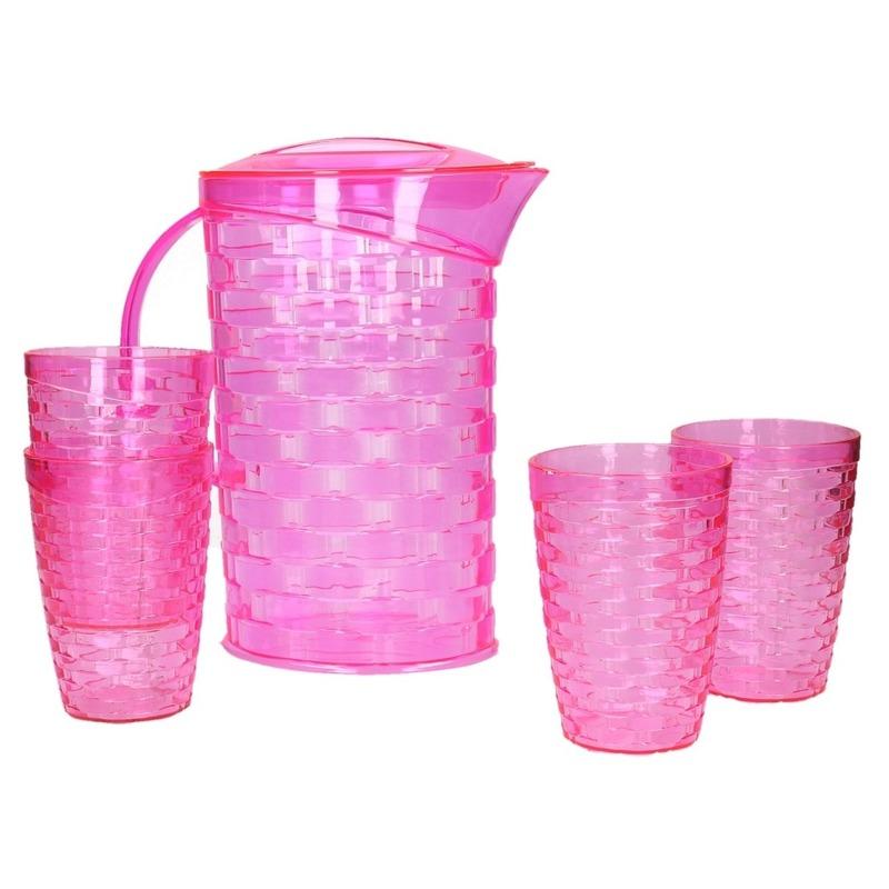 Roze waterkan-sapkan met 4 bekers