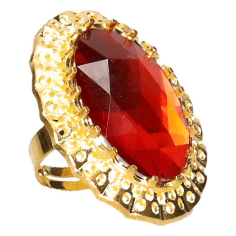 Sinterklaas verkleed ring goud-rood ovaal voor heren