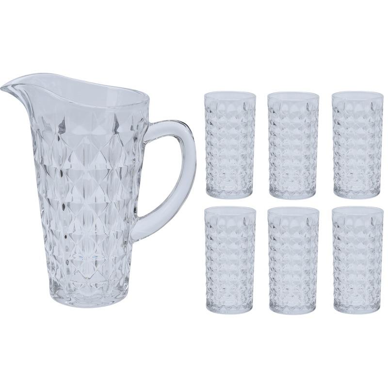 Waterkan-sapkan met 6 glazen